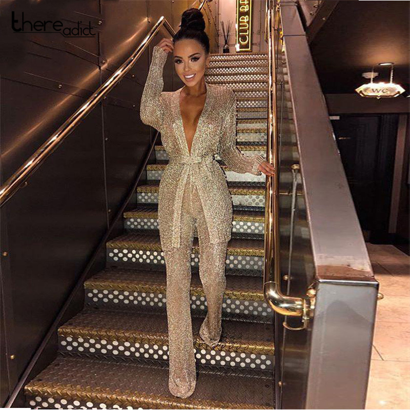 2018 Sexy WomensHollow Out Perspective Cardigan With Belt Cropped Tops Two Pieces Sets Pants Club V-Neck Night Out Party Set