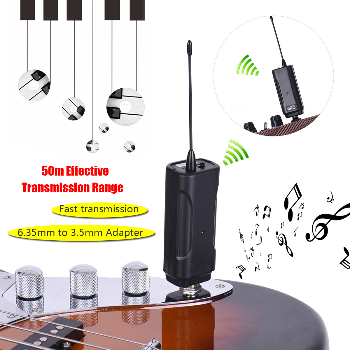 Wireless Audio Transmitter Amplifier Receiver System Lightweight for Guitar Black E4V5 Instruments Anti-jamming Multi-channel system audio sa talent satin black
