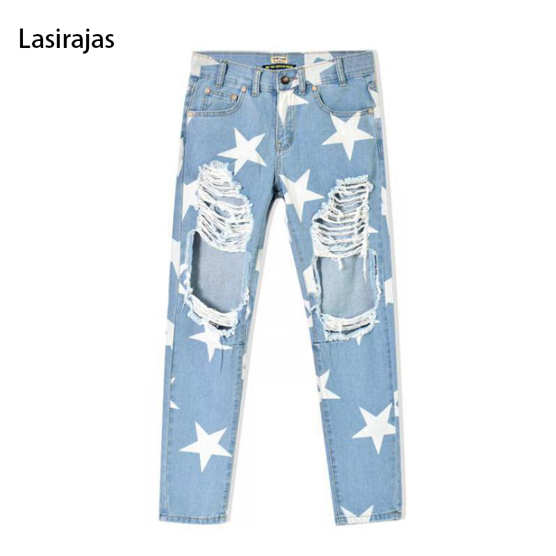 ФОТО Fashion Ankle-length Stripe Skinny Pant Loose Holes Star BoyFriends Straight Pants Women's Summer Light Blue Jeans Teen