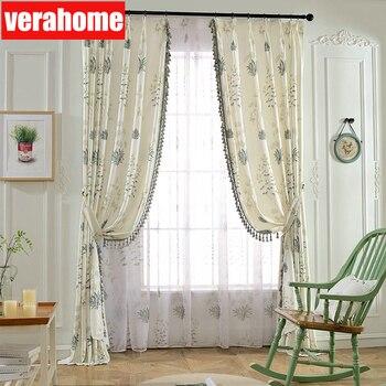 Корейские пасторальные занавески для гостиной, спальни, тюлевые занавески, рустикальное украшение для дома, драповая панель