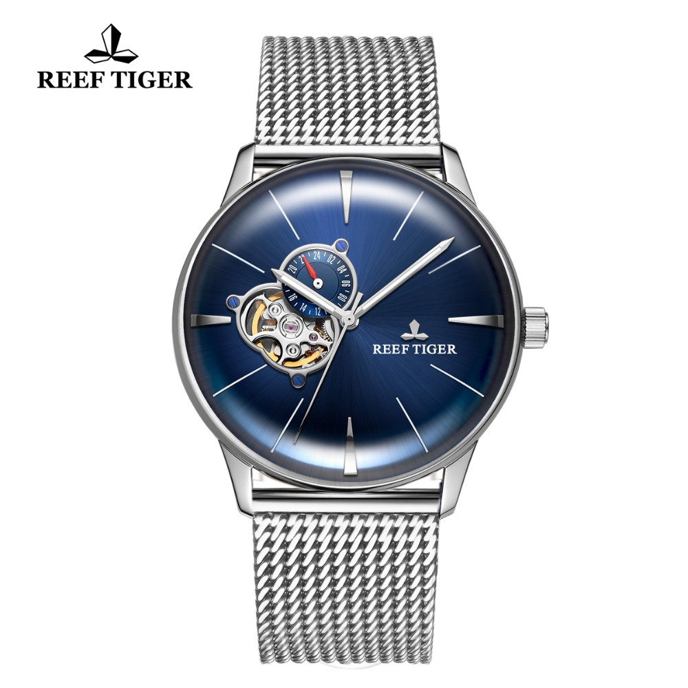 Reef Tiger/RT 2019 New Designer Blue Watch for Men Steel Automatic Watches Sapphire Crystal Bracelet Watch Relogio RGA8239