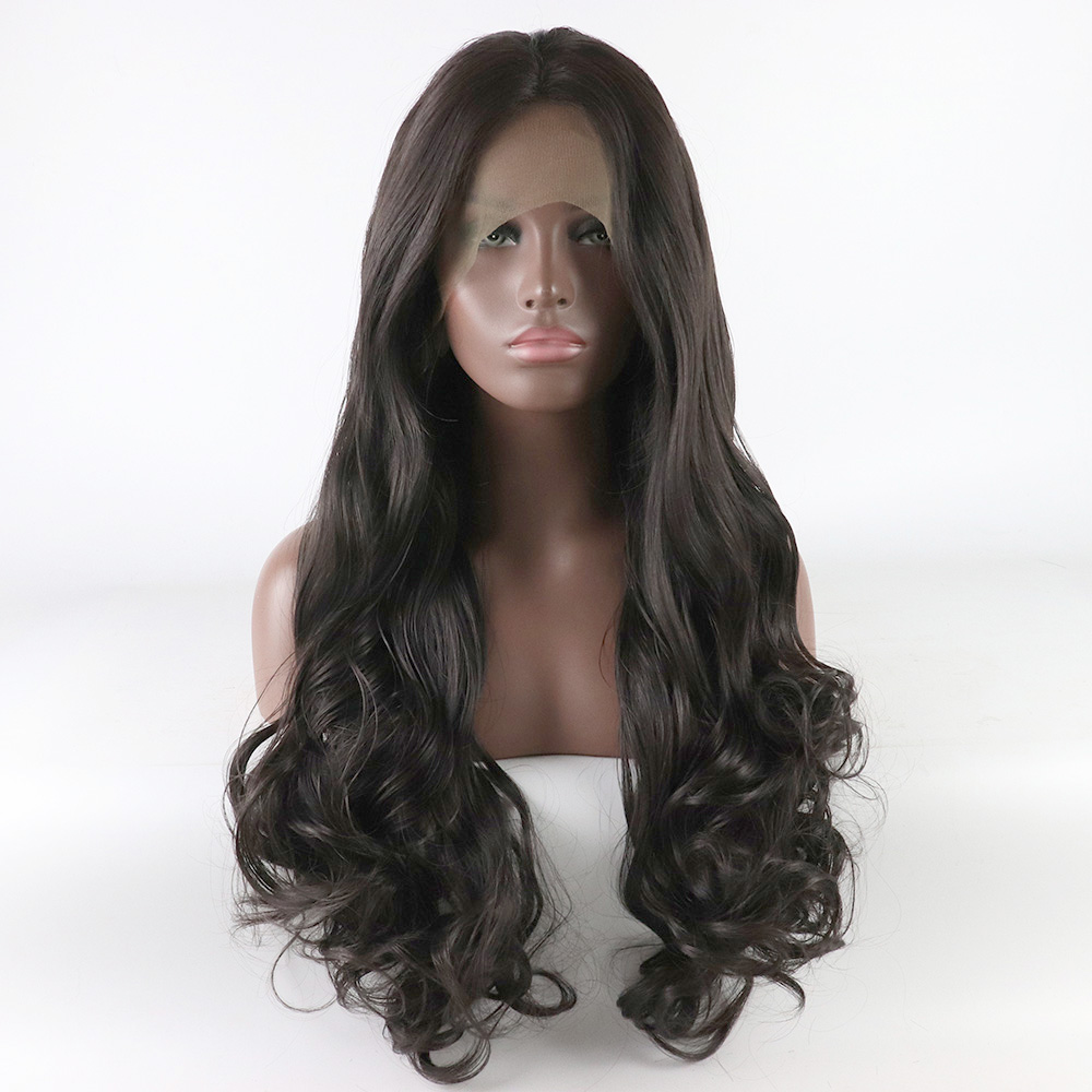 Fantasy Beauty Glueless Lace Front Wigs Dark Brown Synthetic Wigs For Women Natural Looking Long Wavy Wigs Middle Parting