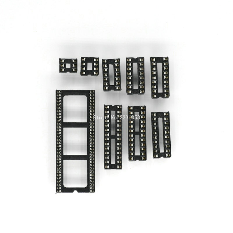 20PCS IC Seat 6 8 14 16 18 20 24 28 64 Pin 2.54 Mm Pin Pitch MCU Socket Chip Base IC Sockets Slot Adaptor Solder Type