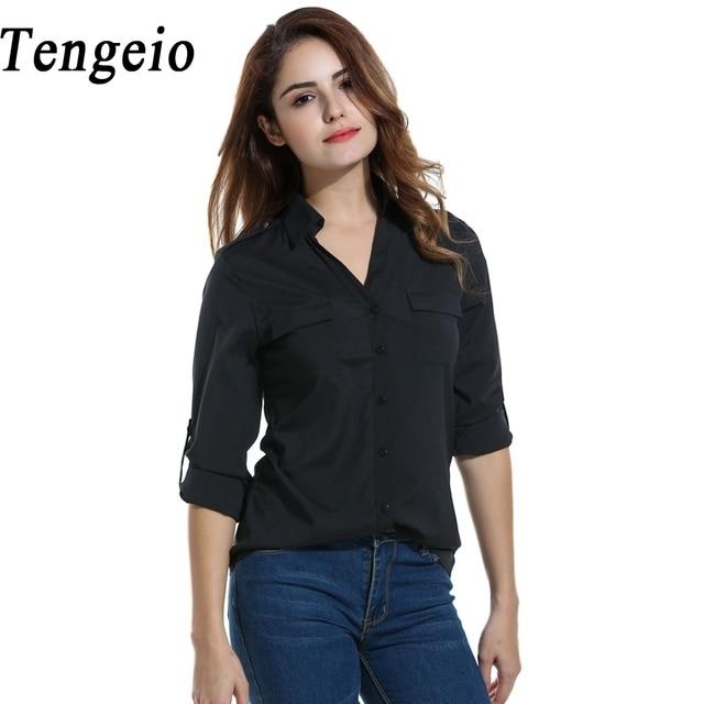 02fabc93 Tengeio Women Work Office Blouse Casual V Neck Long Sleeve Button Down  Shirt Summer Red White Chiffon Top Tunique Femme QZS40