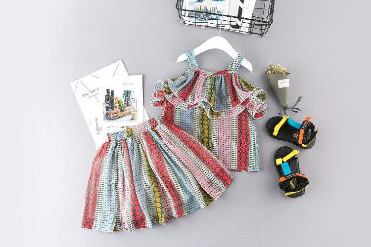 Lány ruházat készlet 2019 nyári új csíkok színes aranyos - Gyermekruházat - Fénykép 4
