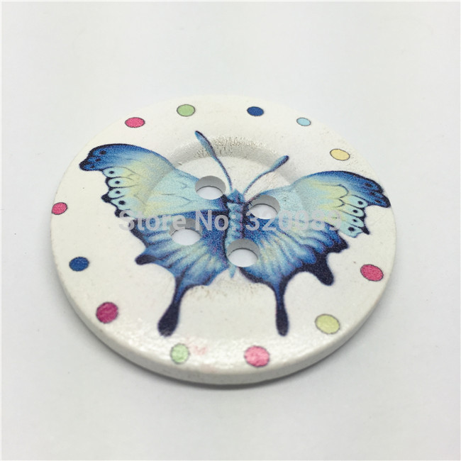 20 unids 50mm 2 gran madera Botones azul mariposa patrón verano ...