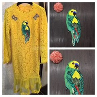 2017 Brazil Parrot Bird Patches New Sew On Applique Sequins Patch For Clothing Skirt DIY Grament