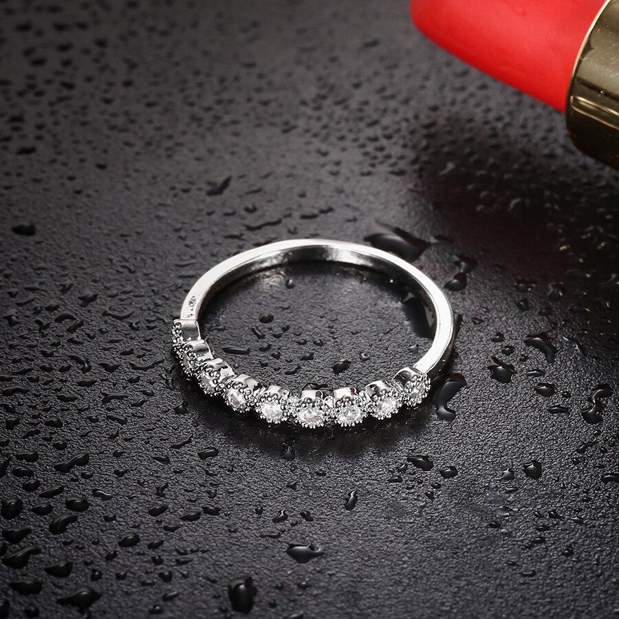 3 PCS/SET Silver Wedding Rings Set For Women Cubic Zircon Jewelry Bague Bijoux Femme Luxury Engagement Ring Accessories Size 6-8
