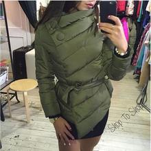 2017  Down jacket women duck down coat irrgeular high collar with belt parkas for women winter 3 colors warm outerwear coats