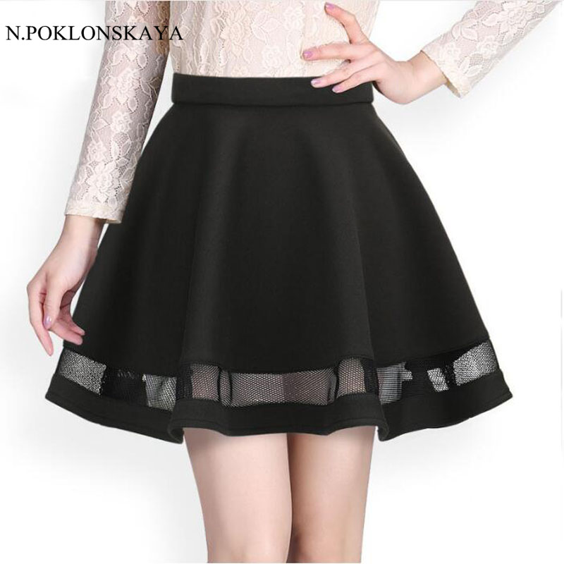 Fashion Grid women skirt elastic faldas ladies tulle midi skirt Sexy - Women's Clothing