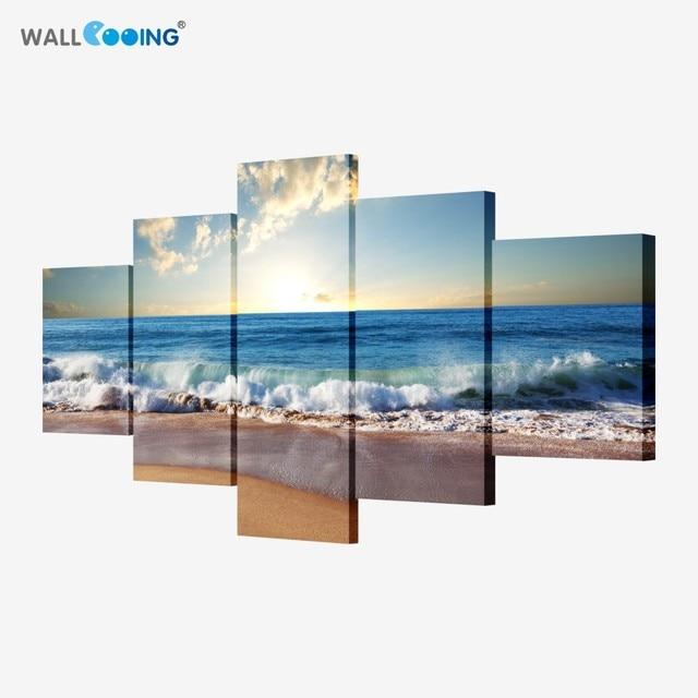 5 pezzo di arte della tela immagine modulare Mare pittura moderna di immagini su