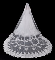 2018 Long Bridal Veil 3 Meters White/Ivory Appliqued Wedding Veil Wedding Accessories Free Shipping