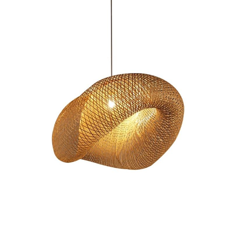 Handgemachte Bambus Lampe Wicker Rattan Welle Schatten Anhänger Licht Vintage Japanischen Lampe Suspension Home Indoor Esstisch Zimmer