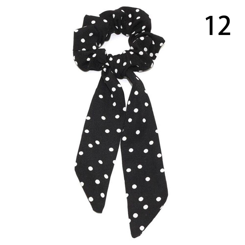 Богемные резинки для волос в горошек с цветочным принтом и бантом, женские эластичные резинки для волос, повязка-шарф, резинки для волос, аксессуары для волос для девочек - Цвет: 12