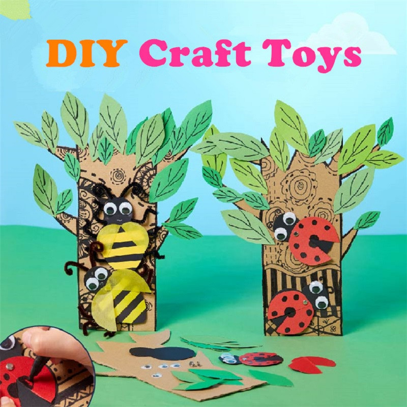 Kids DIY Materials Package Arts & Crafts Toys 3D Handmade Stickers Children Creative Tree & Insect Design Gifts