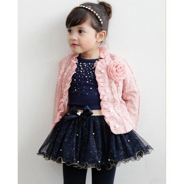 Spring Baby Girls Clothing Sets 3 Pieces Suit Girls Flower Coat + Blue T Shirt + Skirt Girls Clothes