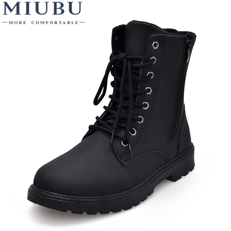 Miubu Tactical Waterproof Winter Warm Snow Boots Men Vintage Leather Motorcycle Ankle Martin High Cut Male Casual Ankle Boots Can Be Repeatedly Remolded. Men's Boots Shoes