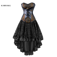 Kimring Vintage Steampunk Corsets Dress Gothic Overbust Corset Dress Women High Waist Skirts Sexy Lace Bustier Corselet