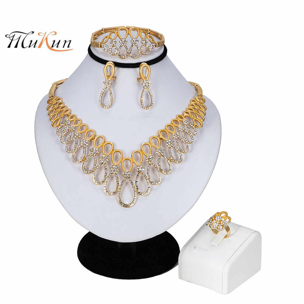 MUKUN 2019 Women Luxury Bridal Jewelry Sets Indian African Necklace Earrings Jewelry Set Gold Color Nigerian Wedding Jewelry Set