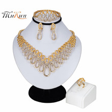MUKUN 2019 Women Luxury Bridal Jewelry Sets Indian African Necklace Earrings Jewelry Set Gold Color Nigerian Wedding Jewelry Set цена в Москве и Питере
