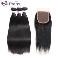 Beaudiva Hair Pre Colored Brazilian Hair Straight Hair 3 Bundles 100 Human Hair Bundle With Closure