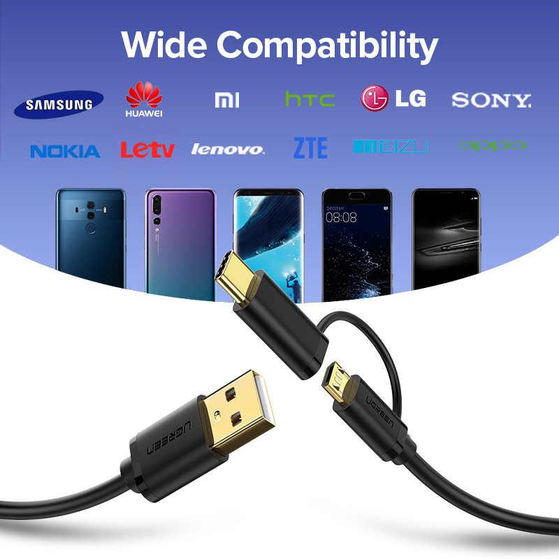 Ugreen USB نوع C كابل لسامسونج غالاكسي S10 s9 plus 2 في 1 كابل USB صغير للشحن السريع ل شاومي اللوحي كابل يو إس بي أندرويد