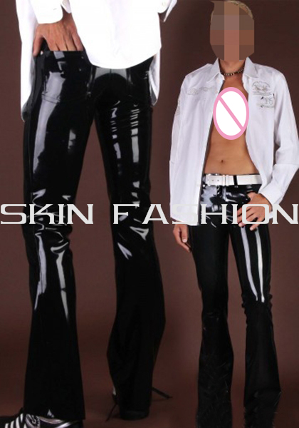 Free shipping Men latex pants black fashion jeans not including waist belt tops