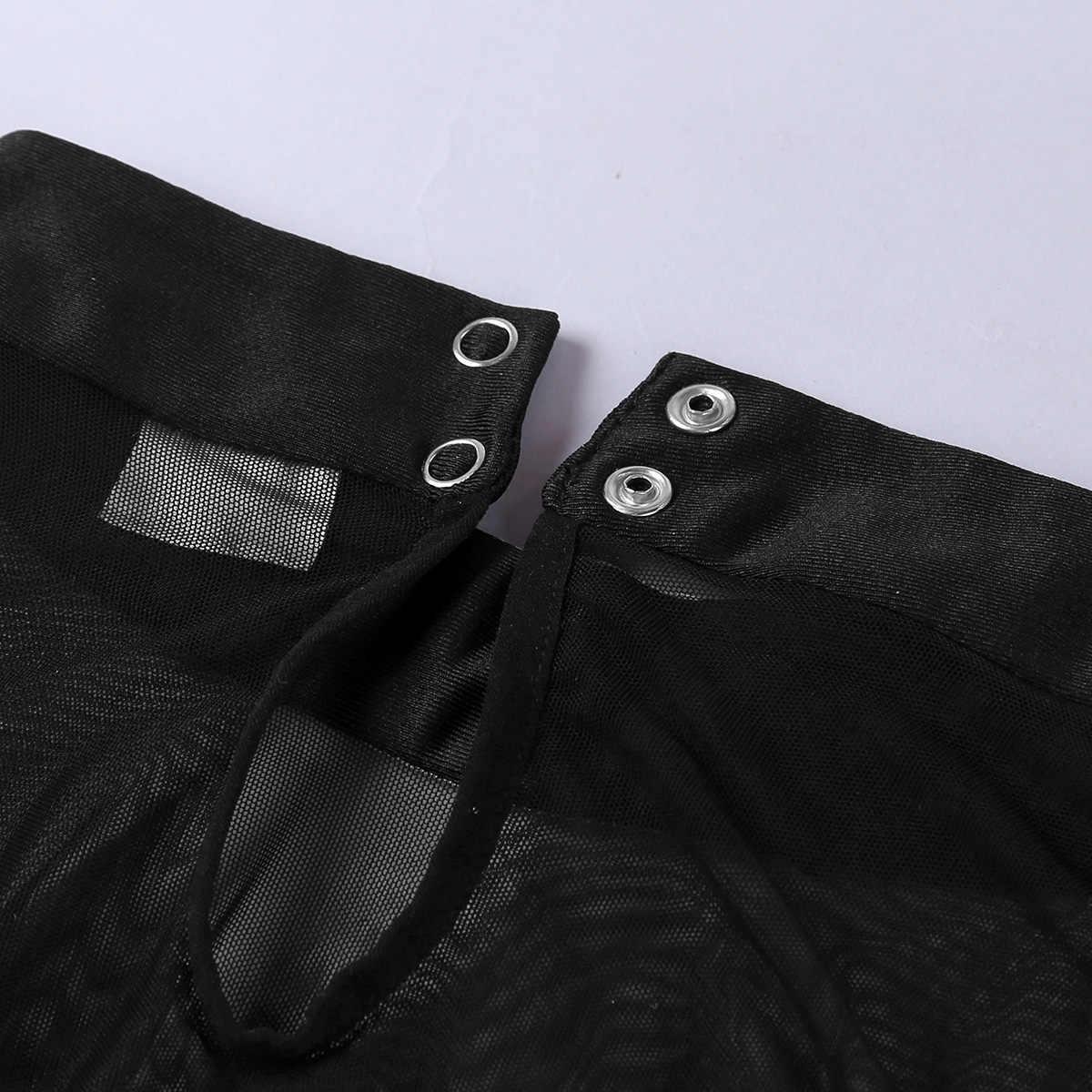 FEESHOW мужские трусы набор мужской прозрачный сетчатый топ без рукавов майка рубашка с боксером трусы нижнее белье необычный праздничный наряд костюмы