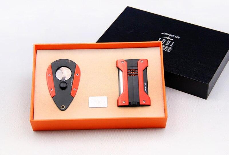 Прекрасное качество JiFENG сигарный набор с простой и модный зажигалка + Нержавеющаясталь лезвие, нож для сигар, профессиональный аксессуар д...