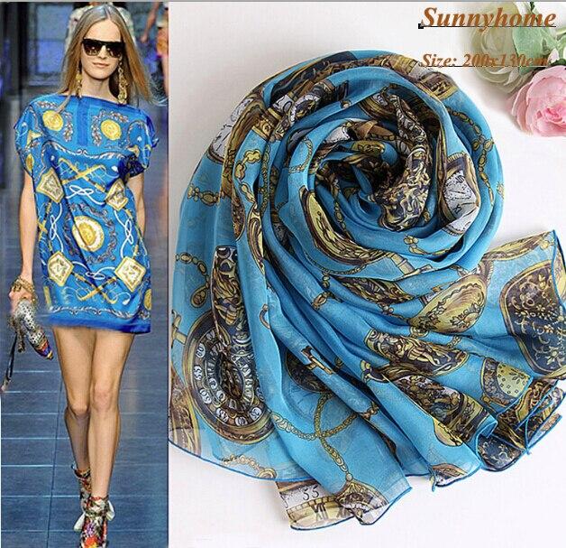 Хиджабах мусульманский исламский платок Scarves100 % чистого шелка часы напечатаны синий шелк упаковка дизайнеры бренда шелковые шарфы молитва шаль