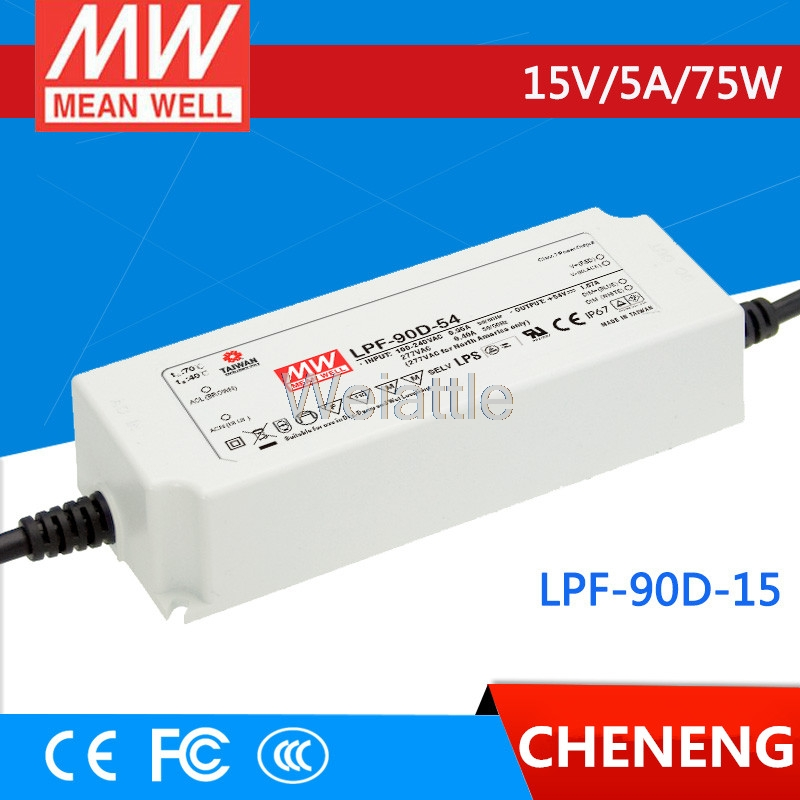 MEAN WELL original LPF-90D-15 15V 5A meanwell LPF-90D 15V 75W Single Output LED Switching Power Supply shivaki shrf 90d