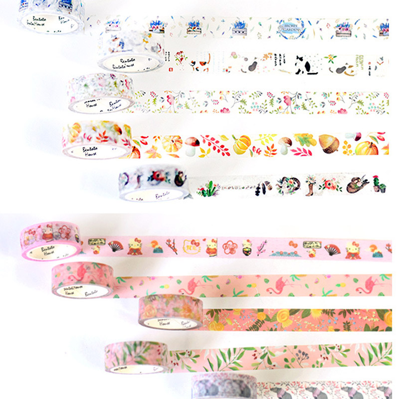 Cute Feather Donut Masking Tape Kawaii Flower Washi Tape Decorative Adhesive Tape For Kids DIY Scrapbooking Diary Photos Albums
