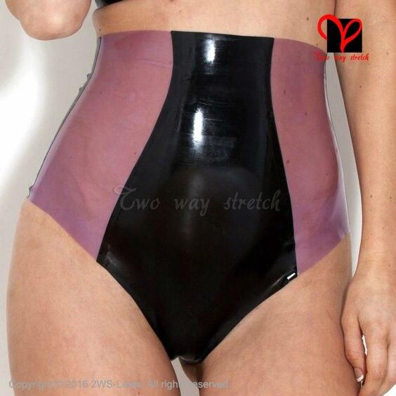 Slips en Latex avec garnitures devant et dos sous-vêtements shorts Sexy taille haute undies string sous-vêtements en caoutchouc KZ-070