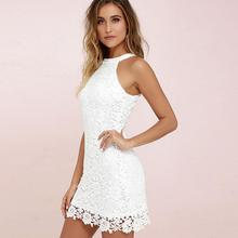 2019 New Yfashion Women Halter Sexy Sleeveless Short Lace Dress Top Selling