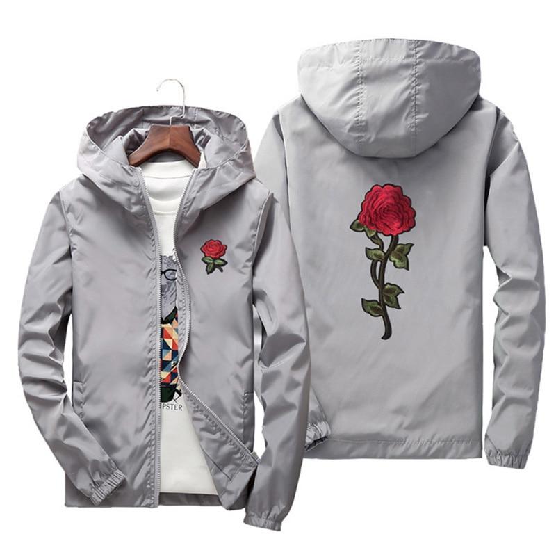 7XL Women Basic Jackets 2019 Spring Women Hooded Jacket Coats Embroidery Rose Causal Men windbreaker Bomber Jacket Famale Z004
