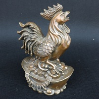 Antique Old QingDynasty copper statue,Rooster standing sculpture,hand carving crafts,best collection&adornment,free shipping