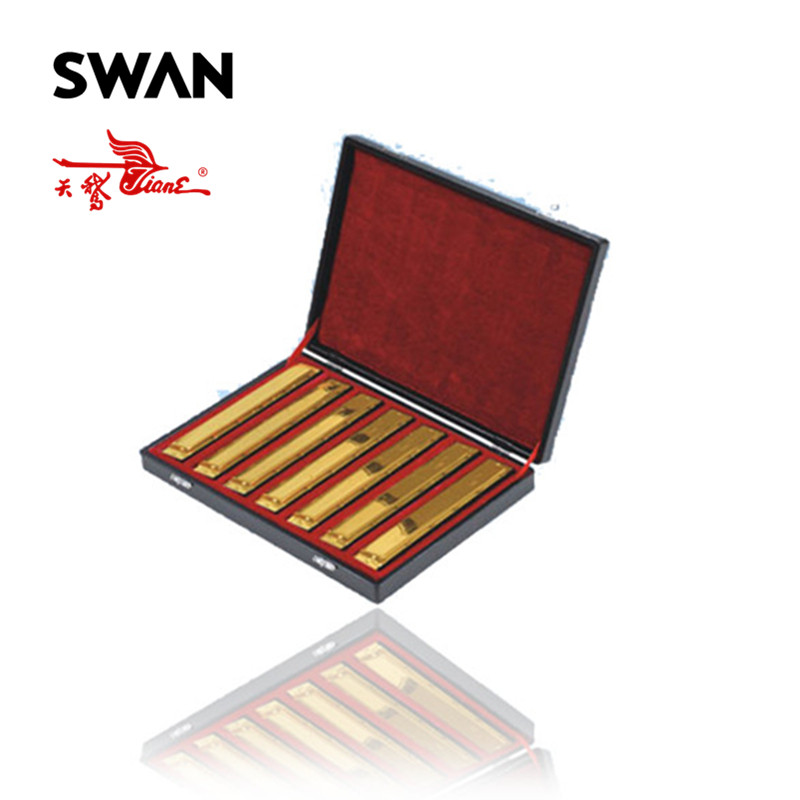 Swan SW24-7TJ Gold Color 24 Holes 7 Keys Harmonicas Set In Gift Box Professional Woodwind Instruments Musical Instrument SetSwan SW24-7TJ Gold Color 24 Holes 7 Keys Harmonicas Set In Gift Box Professional Woodwind Instruments Musical Instrument Set