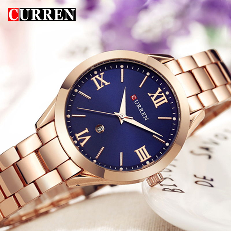 CURREN Top Luxury Band Women Watches Fashion Quartz Female Wrist Watch Stainless Steel Simple Waterproof Watch Relogio Feminino