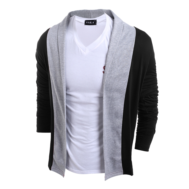 Brand Clothing Sweater Men Fashion Spliced Color Slim Cardigan Men Thin Coat Male NO Button Design Knitted Mens Cardigans 2Color ...