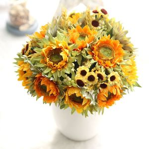 Image 2 - Autumn Decoration 5 Heads Yellow Sunflower Silk Artificial Flowers Bouquet For Home Decoration Office Party Garden Decor