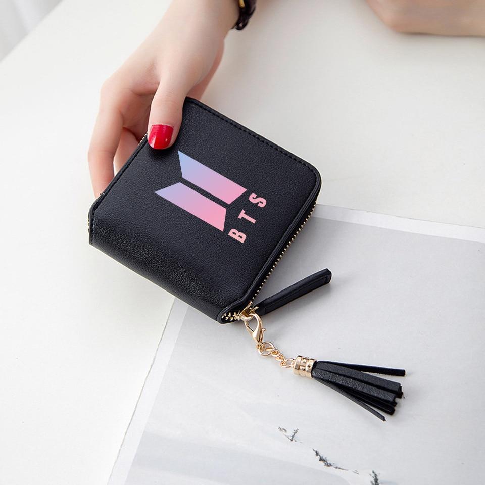 BTS 2018 New Fashion BTS 3d wallet Kpop Short Zipper card wallet Girl Tassel purses Mini cute Bags Customize BTS Accessories