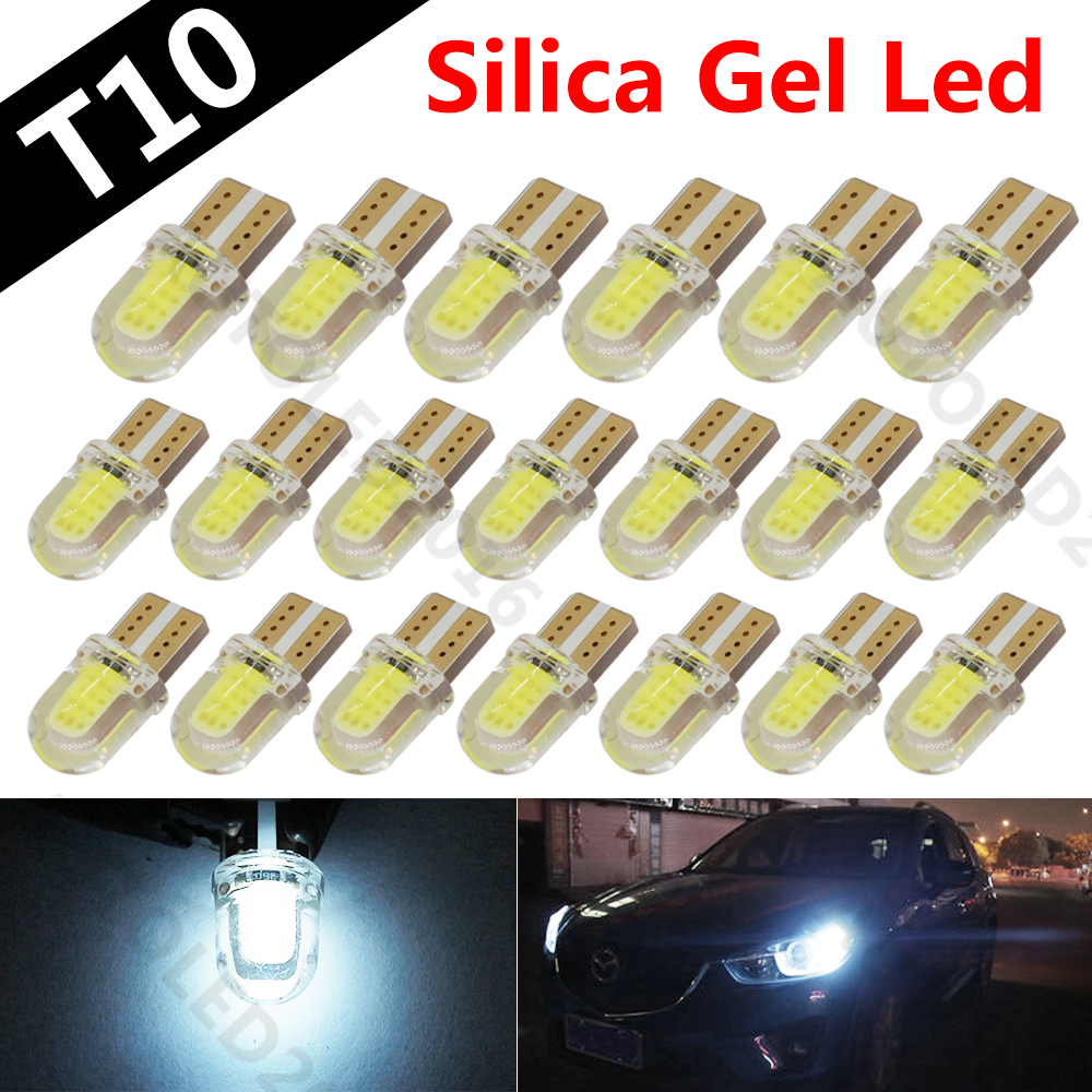 20pcs new High Power T10 194 168 W5W COB 8 SMD 1W 80Lumen Silica Super Bright LED Turn Side License Plate Light Lamp Bulb DC12V carprie super drop ship new 2 x canbus error free white t10 5 smd 5050 w5w 194 16 interior led bulbs mar713