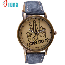 OTOKY Willby I CAN DO IT Cowboy Jeans Style Retro Watch Women Men Quartz Wrist Watches 161228 Drop Shipping