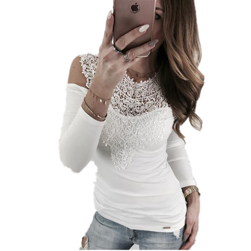 New 2018 Summer Elegant Tunic O-neck Lace Tops Sexy Casual Bodycon Cotton T Shirt Women Off Shoulder Slim Tops & Tees Sy11