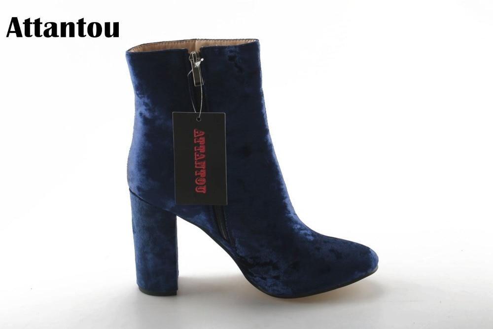 À As Color Marque Neige Hauts Automne Showed Bottes Femmes 2018 Botas Chaussures Attantou Femininos Cheville Chunky Talons Mode Hiver gaqUBwX