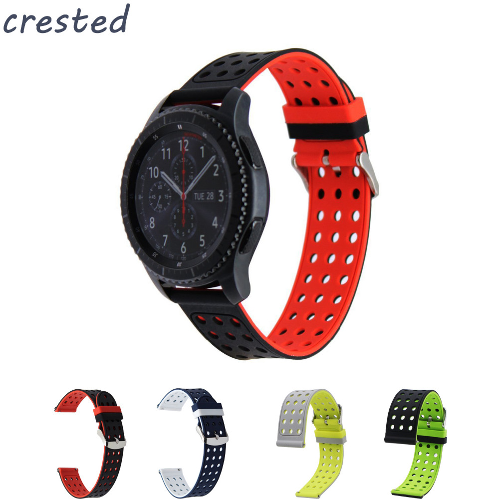 CRESTED 22mm Double color sport silicone watch band strap for Samsung Gear S3 Frontier / Classic Watch Band replacement band crested sport silicone strap for samsung gear s3 classic frontier replacement rubber band watch strap for samsung gear s3