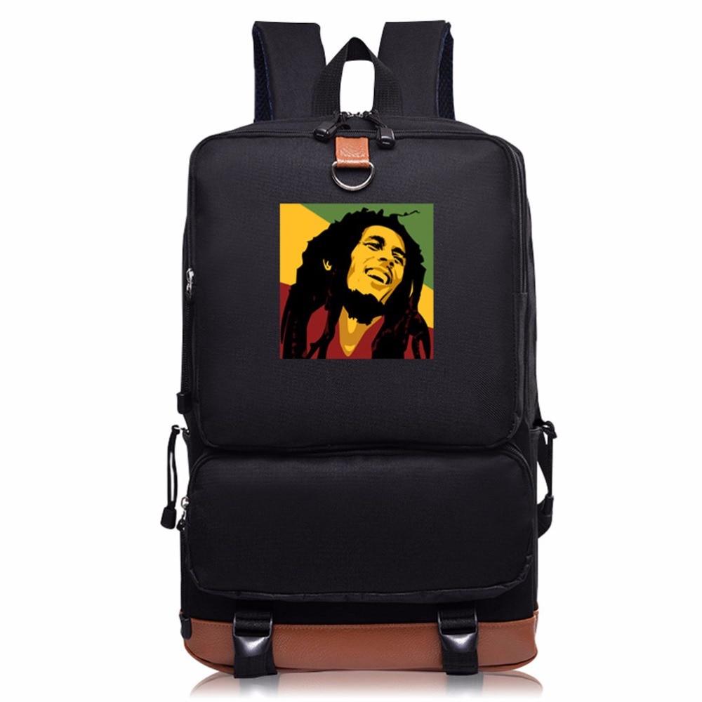 Подростки Студент Досуг Плечи мешок Боб Марли Печати мужчин и женщин Мешок Школы индивидуальность Мода компьютер рюкзак