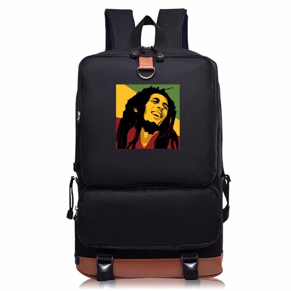 Teenagers Student Leisure Shoulders bag Bob Marley Printing men and women School Bag individuality Fashion computer backpack