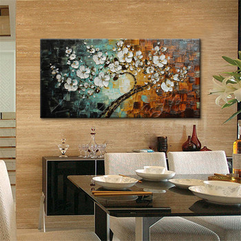 Hand Painted Oil Painting Palette Knife Flower Canvas wall art canvas Pictures for living room home decor cuadros decoracion 27