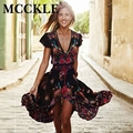 Mcckle mujer moda verano de boho dress ethenic sexy print retro vintage dress tassel beach dress bohemia hippie dress robe nueva